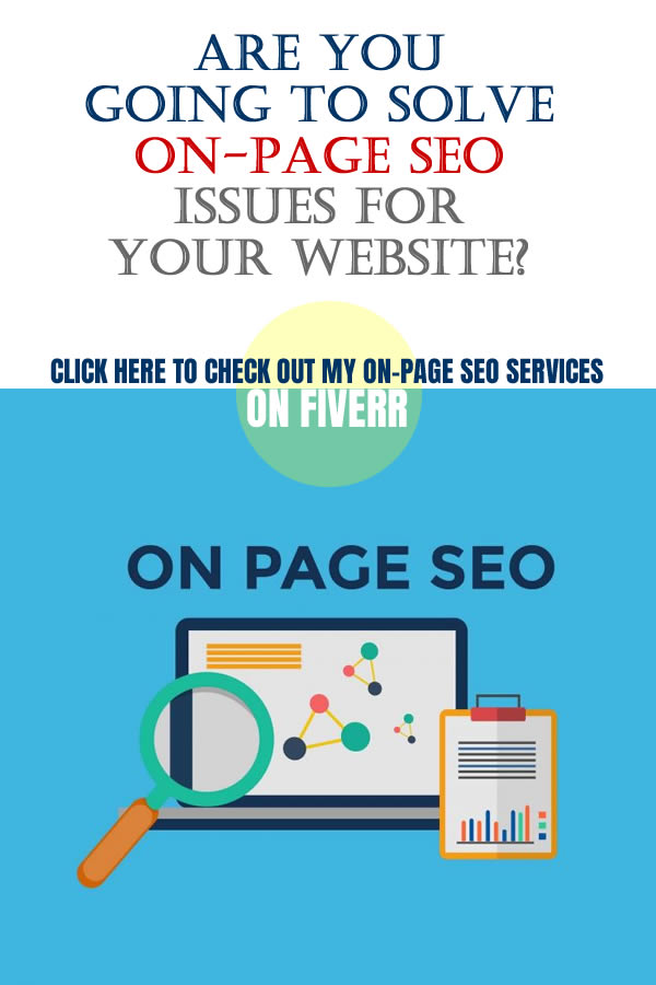 I Will Fix On Page SEO For Your Website. To do SEO to your website, be sure your SEO expert can solve these issues properly. There are many people that sell their expertise in online market places like Fiverr.