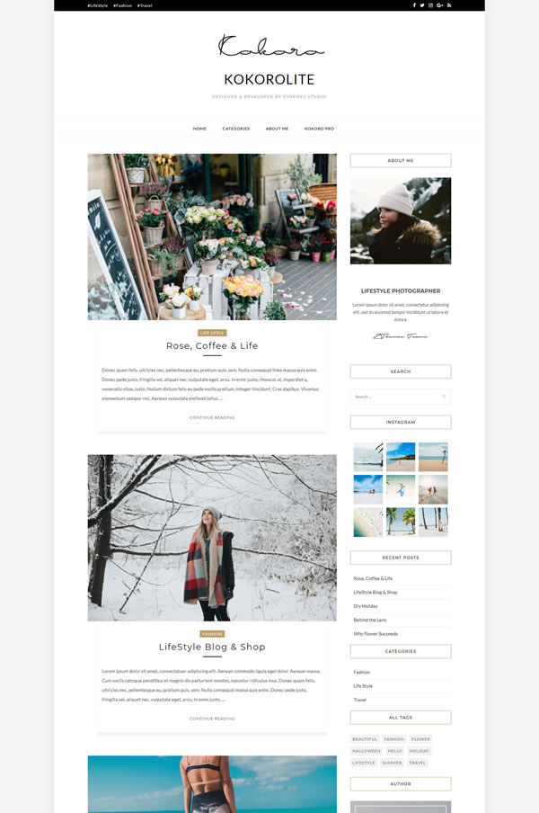Kokoro is a free minimalist wordpress theme that has been designed with blogs in mind.