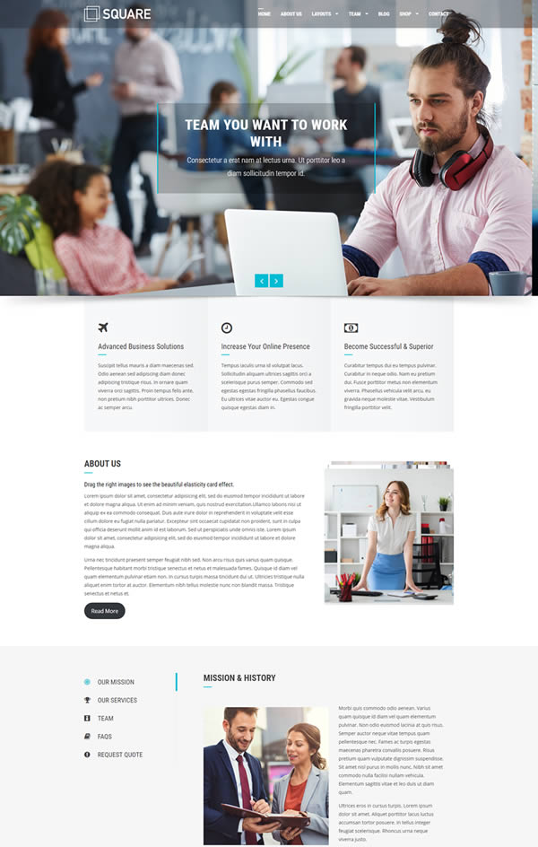 Square is a free minimalist WordPress theme that provides a flexible and elegant design that can work in any way.